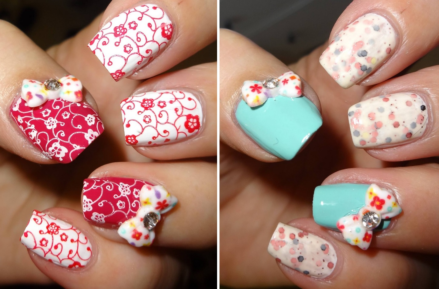 Flower Pattern 3d Nail Art Bow Designs